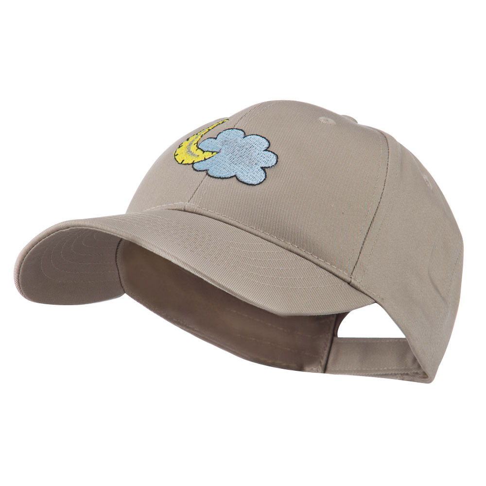 Halloween Cloud and Moon Embroidered Cap - Khaki - Hats and Caps Online Shop - Hip Head Gear