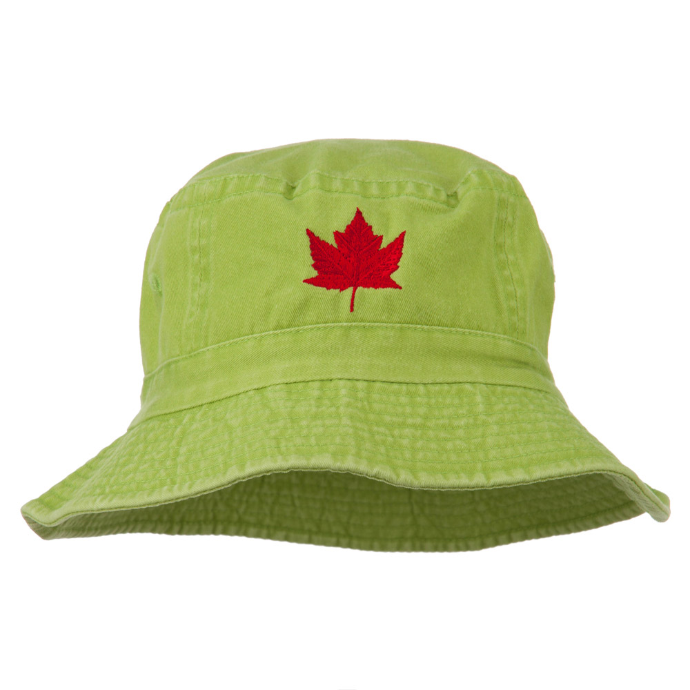 Canada Maple Leaf Embroidered Bucket Hat - Apple Green