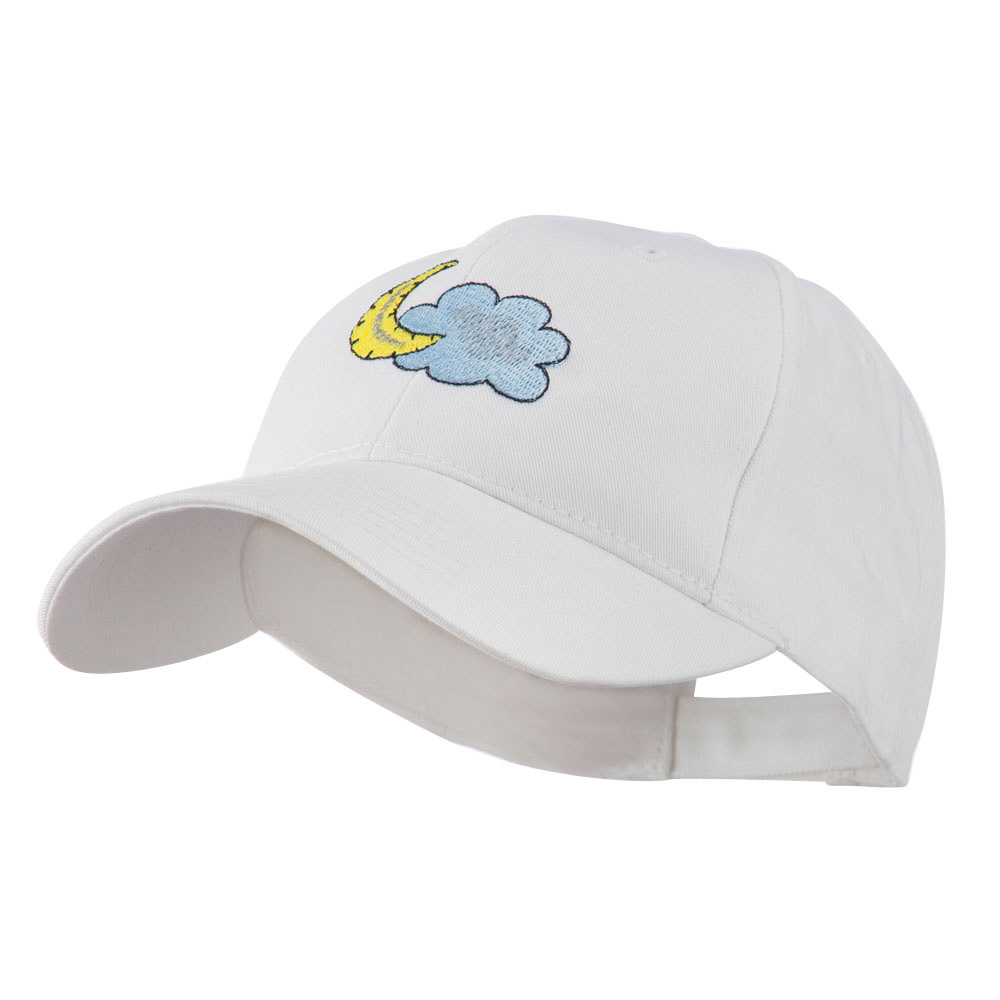 Halloween Cloud and Moon Embroidered Cap - White - Hats and Caps Online Shop - Hip Head Gear