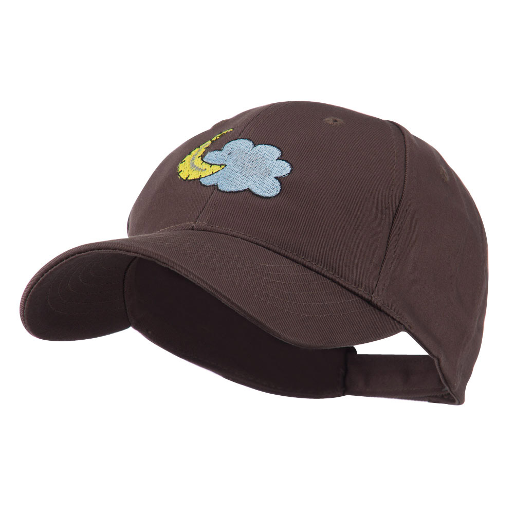 Halloween Cloud and Moon Embroidered Cap - Brown - Hats and Caps Online Shop - Hip Head Gear
