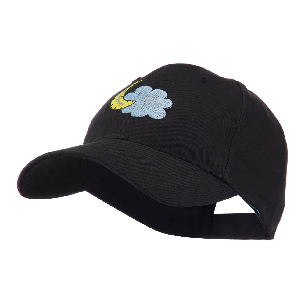 Halloween Cloud and Moon Embroidered Cap - Black - Hats and Caps Online Shop - Hip Head Gear
