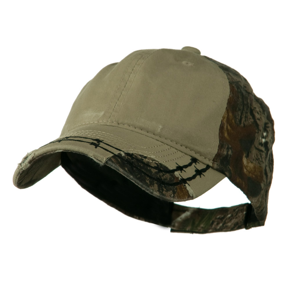 Camo 6 Panel Heavy Washed Cotton Twill Cap - Khaki - Hats and Caps Online Shop - Hip Head Gear