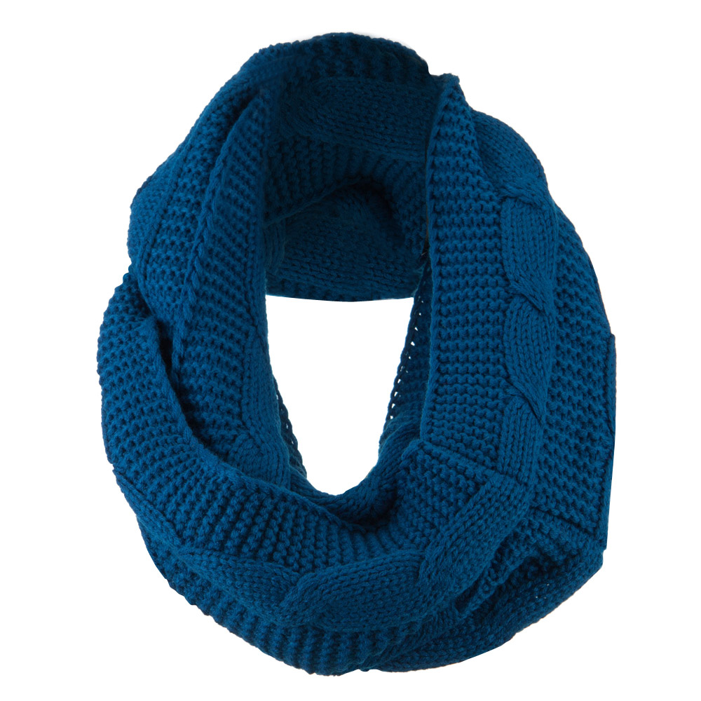 Cable Round Neck Warmer - Navy