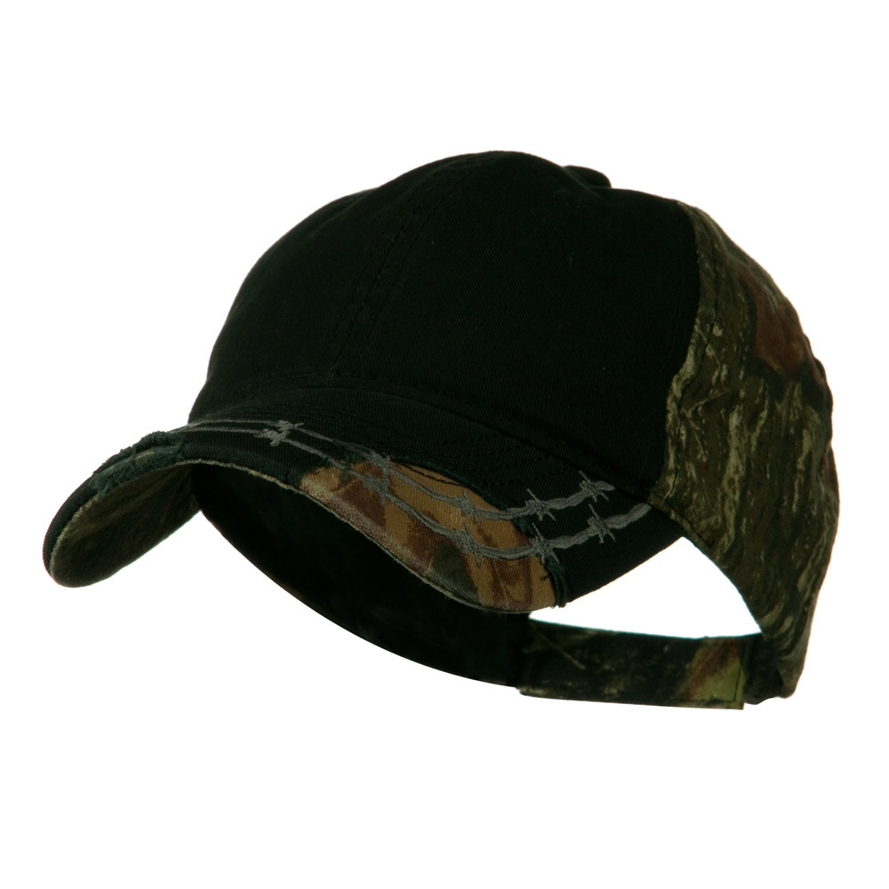 Camo 6 Panel Heavy Washed Cotton Twill Cap - Black - Hats and Caps Online Shop - Hip Head Gear