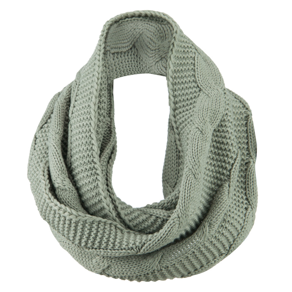 Cable Round Neck Warmer - Light Grey
