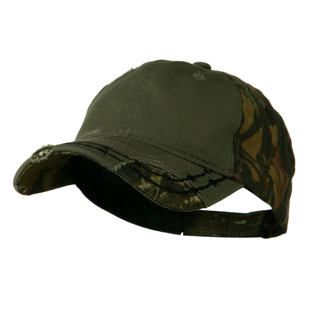 Camo 6 Panel Heavy Washed Cotton Twill Cap - Olive - Hats and Caps Online Shop - Hip Head Gear