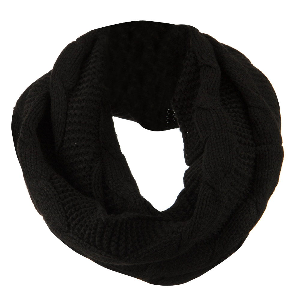 Cable Round Neck Warmer - Black - Hats and Caps Online Shop - Hip Head Gear