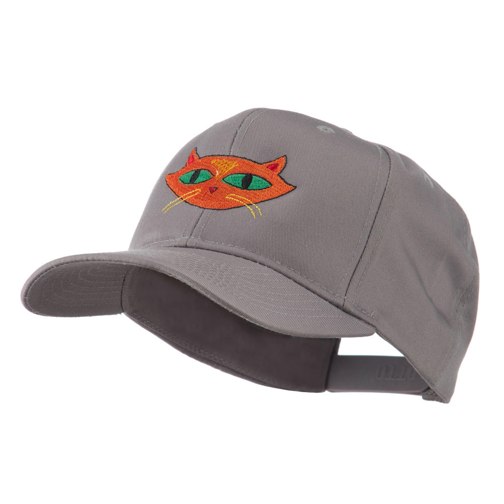 Halloween Cat with Green Eyes Embroidered Cap - Grey - Hats and Caps Online Shop - Hip Head Gear