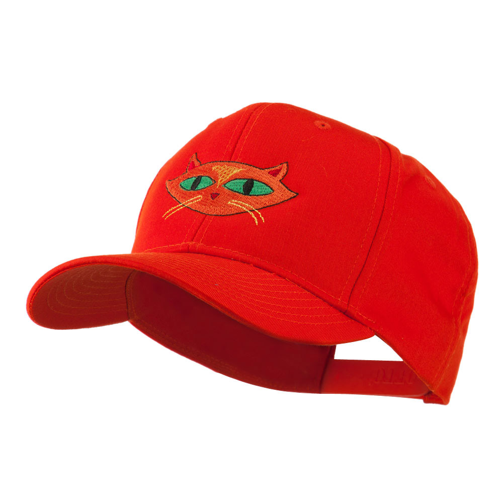 Halloween Cat with Green Eyes Embroidered Cap - Orange - Hats and Caps Online Shop - Hip Head Gear