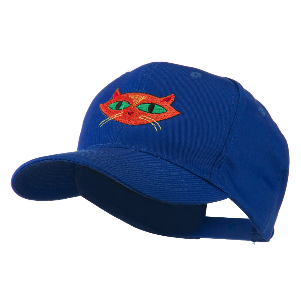 Halloween Cat with Green Eyes Embroidered Cap - Royal - Hats and Caps Online Shop - Hip Head Gear