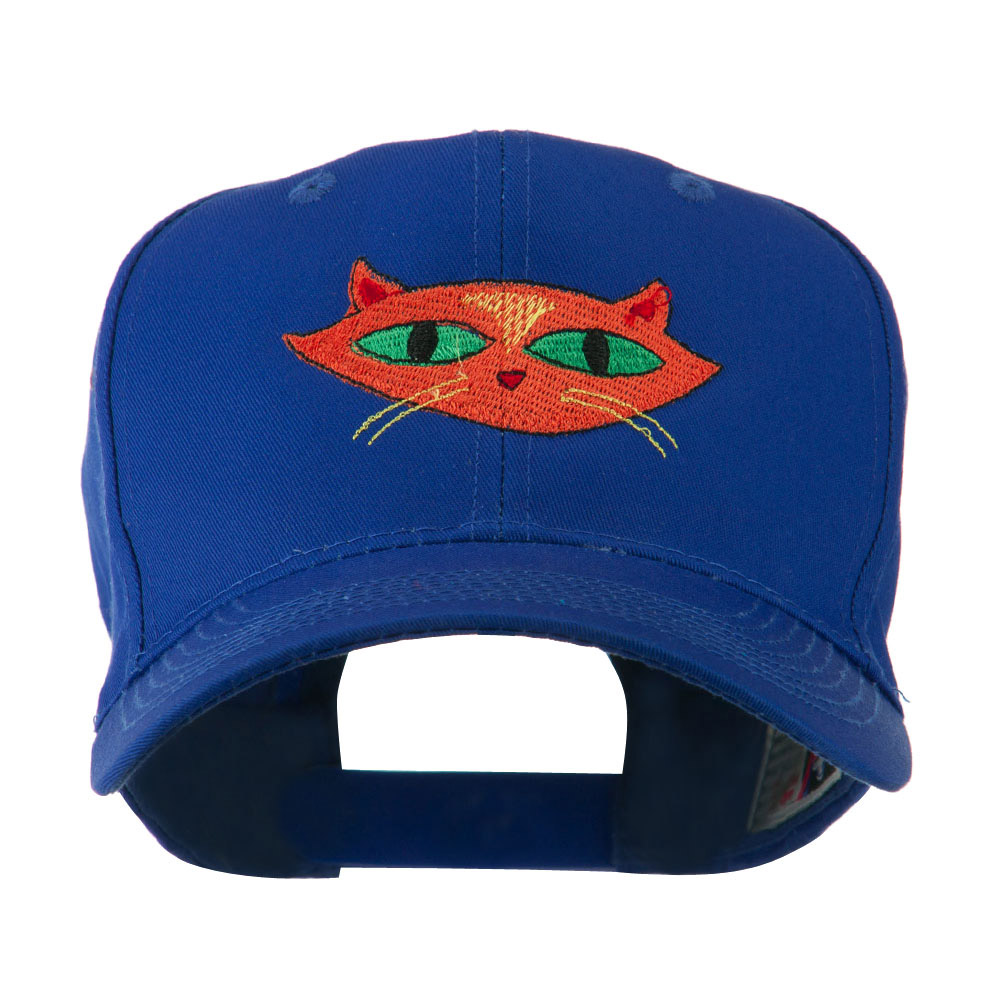 Halloween Cat with Green Eyes Embroidered Cap - Royal