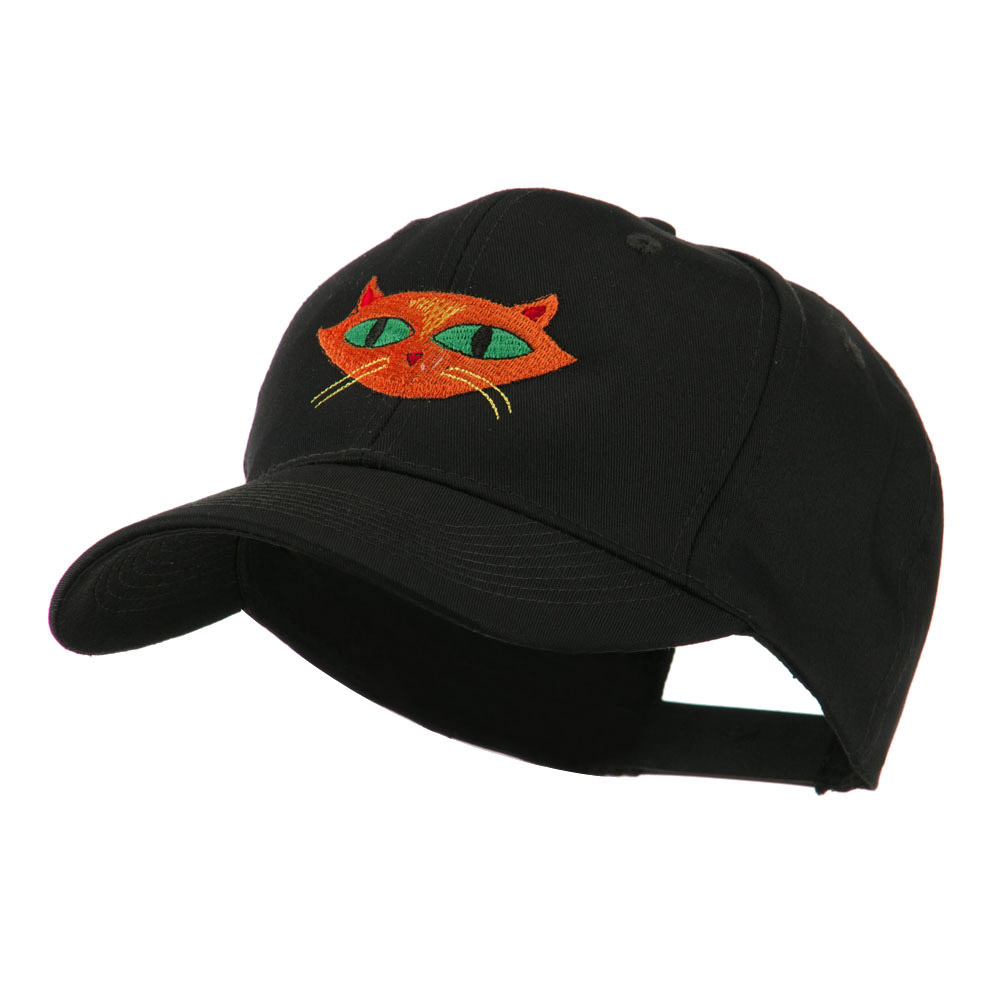 Halloween Cat with Green Eyes Embroidered Cap - Black - Hats and Caps Online Shop - Hip Head Gear