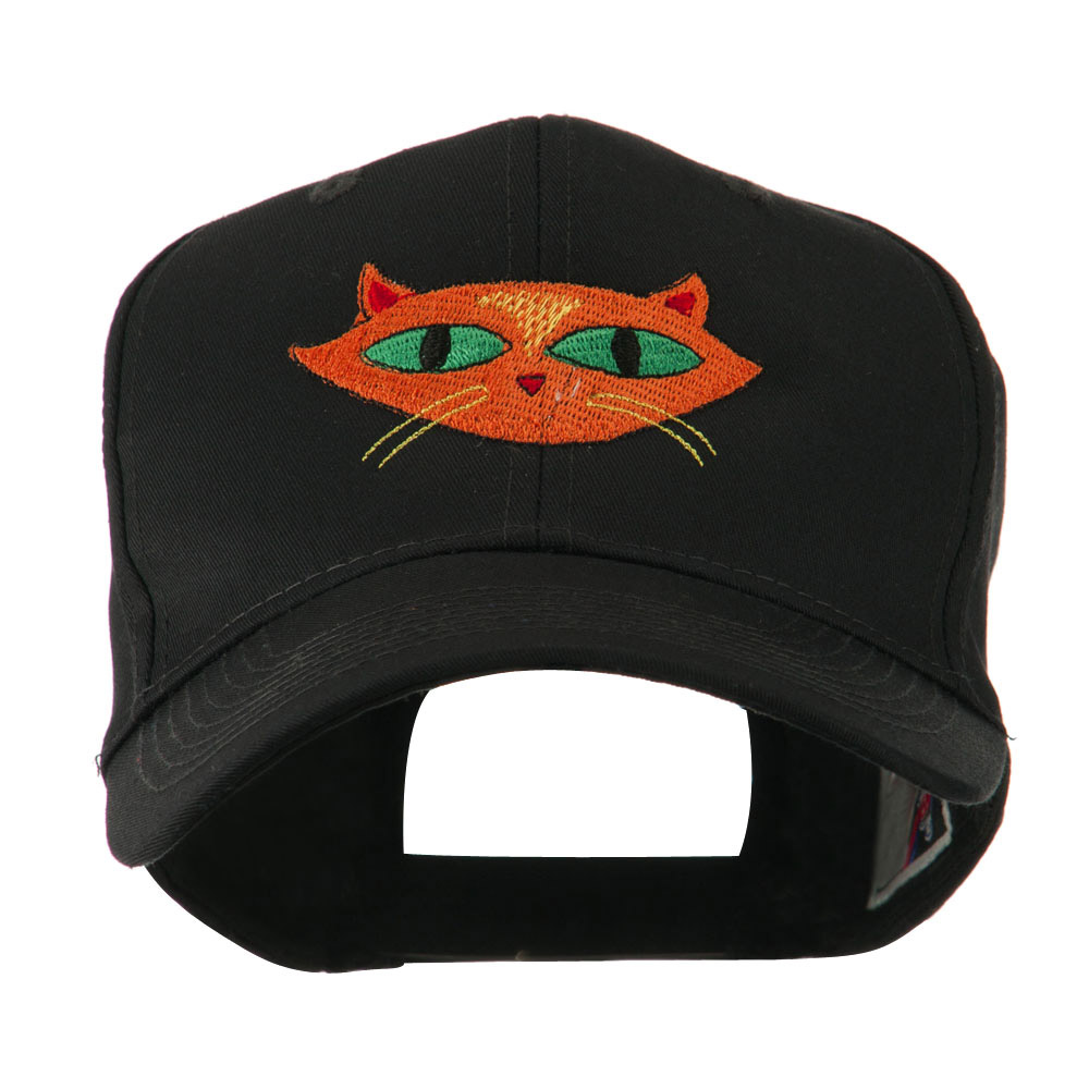Halloween Cat with Green Eyes Embroidered Cap - Black