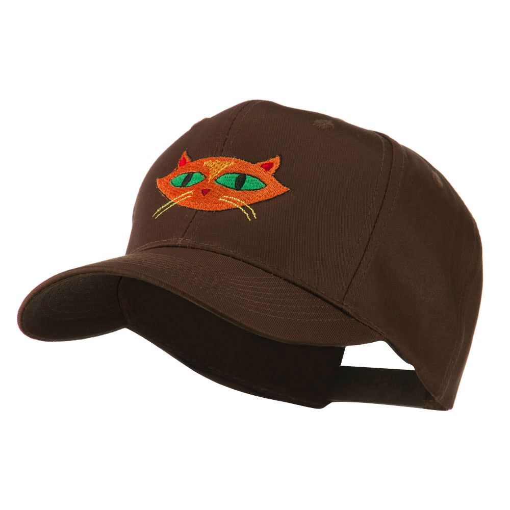 Halloween Cat with Green Eyes Embroidered Cap - Brown - Hats and Caps Online Shop - Hip Head Gear