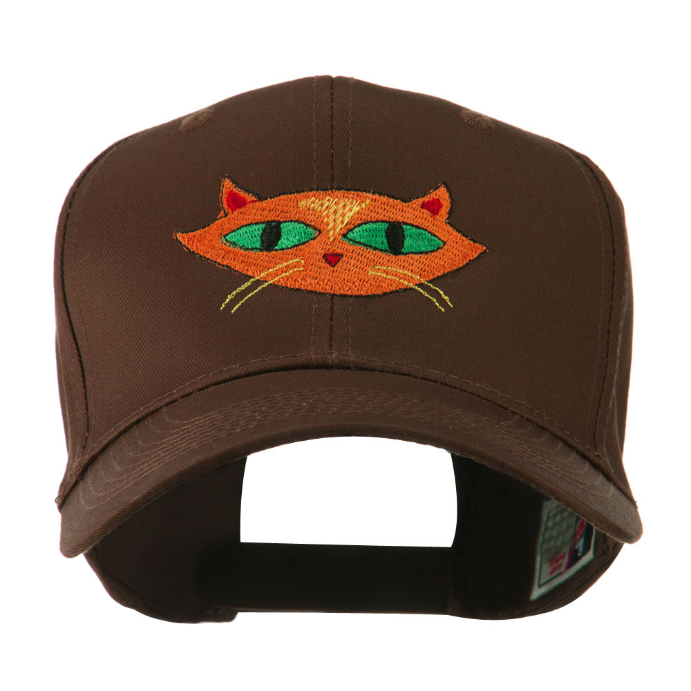 Halloween Cat with Green Eyes Embroidered Cap - Brown