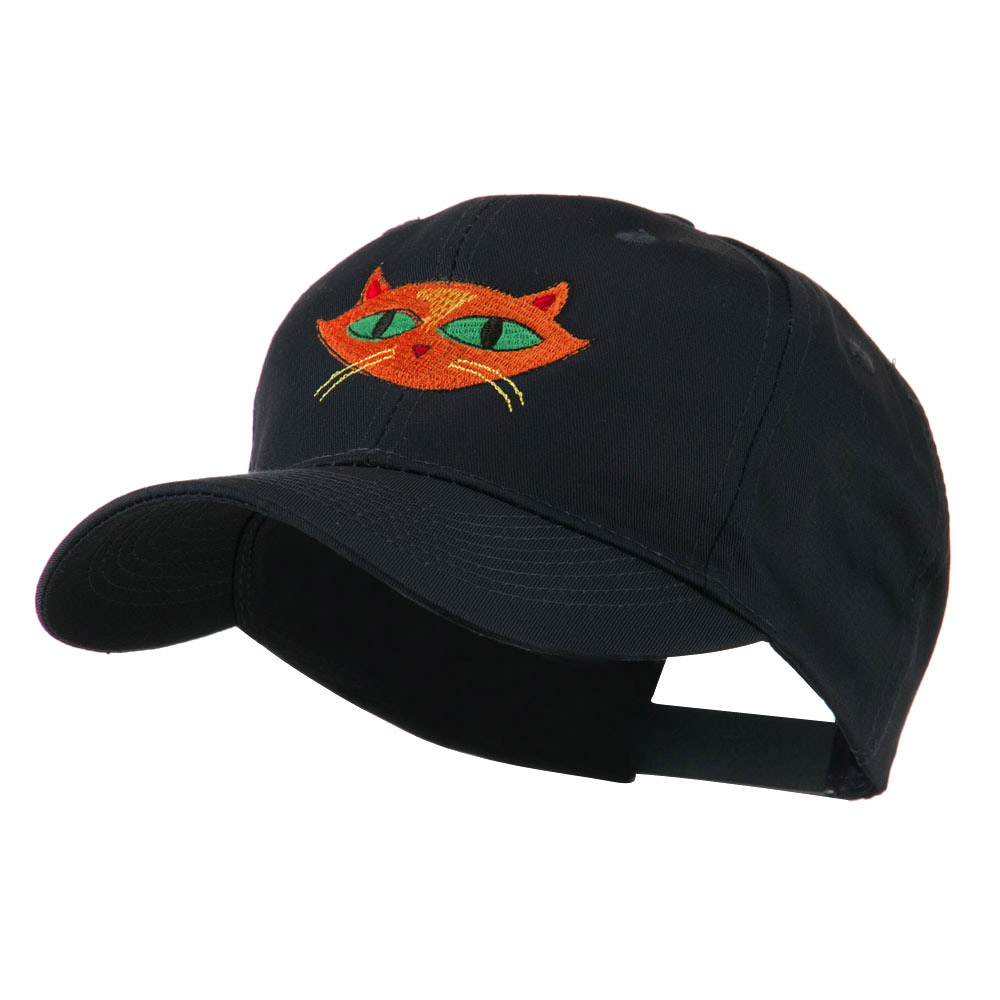 Halloween Cat with Green Eyes Embroidered Cap - Navy - Hats and Caps Online Shop - Hip Head Gear
