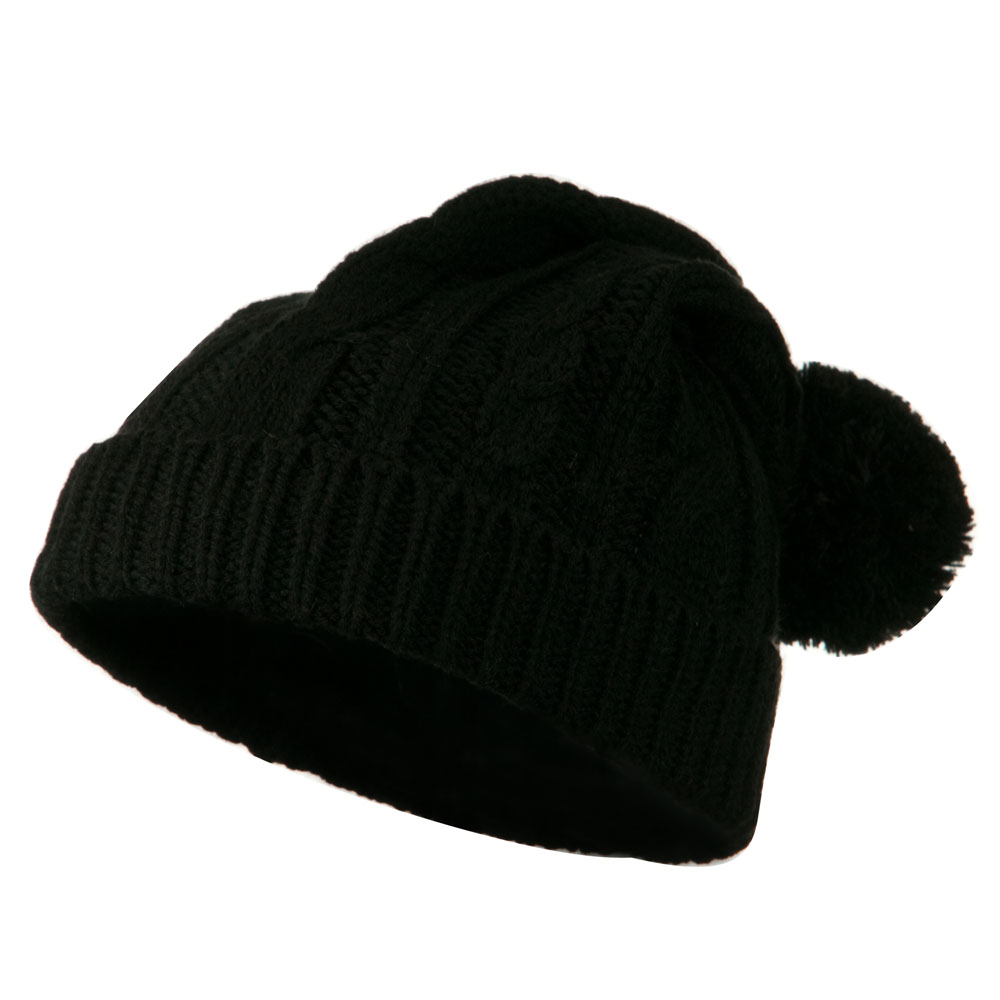 Cable Knit Hat with Pom Pom - Black