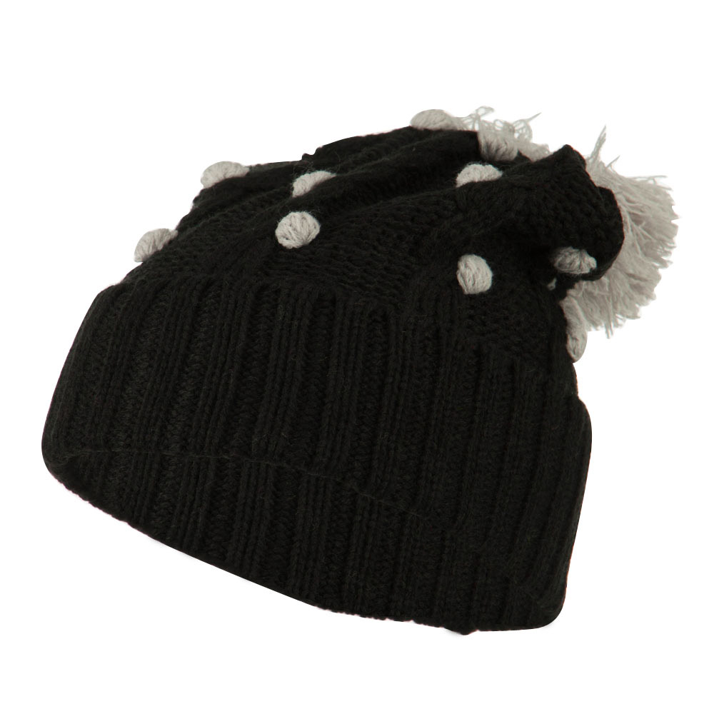 Cable Polka Dot Pom Cuff Beanie - Light Grey - Hats and Caps Online Shop - Hip Head Gear
