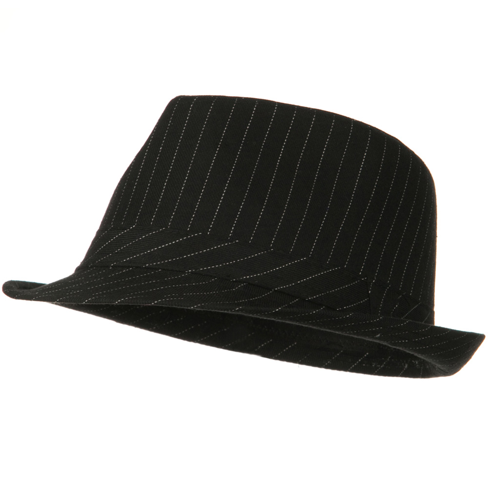 Cotton Pinstripe Fedora Hat - Black White - Hats and Caps Online Shop - Hip Head Gear