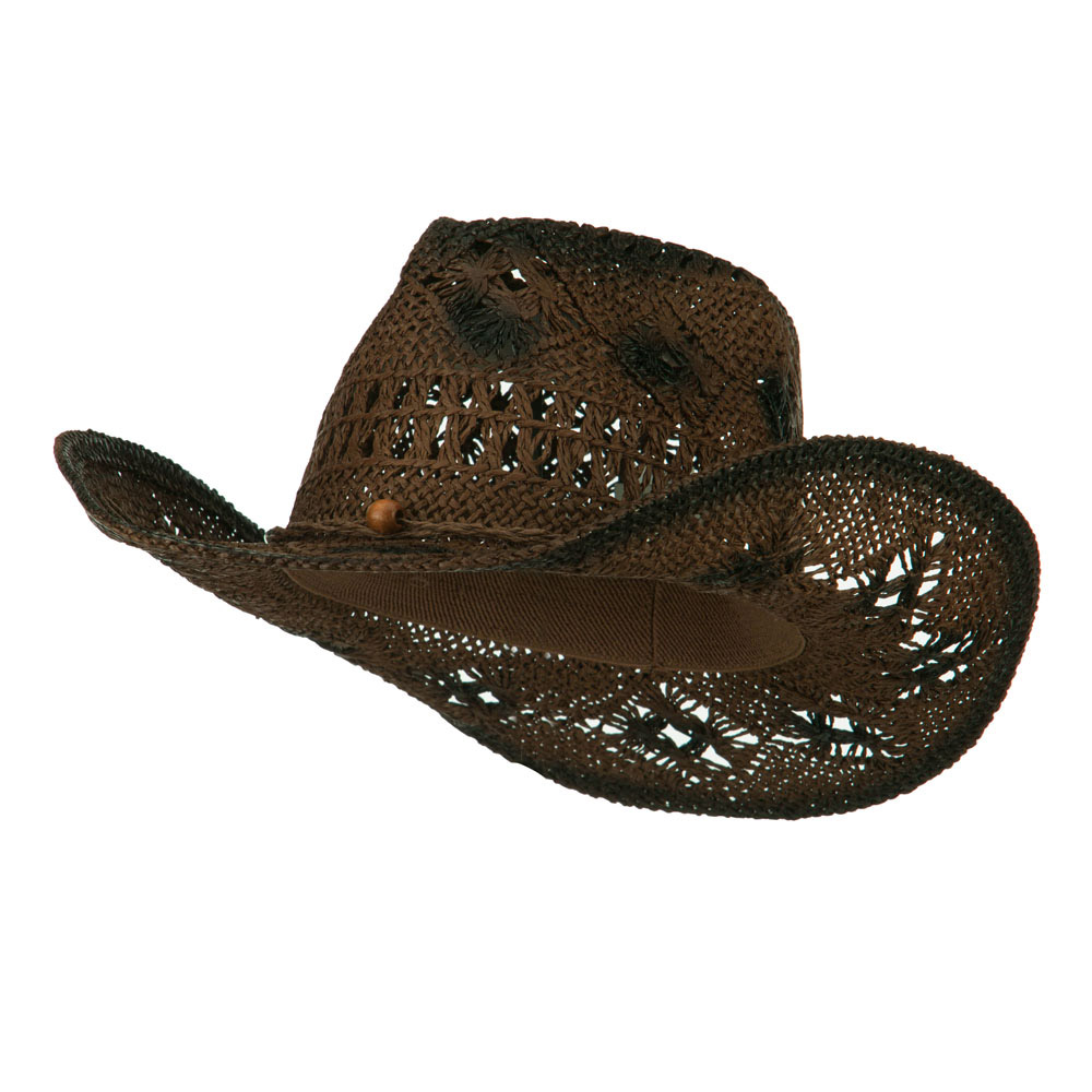 Crocheted Paper Straw Cowboy Hat - Brown - Hats and Caps Online Shop - Hip Head Gear