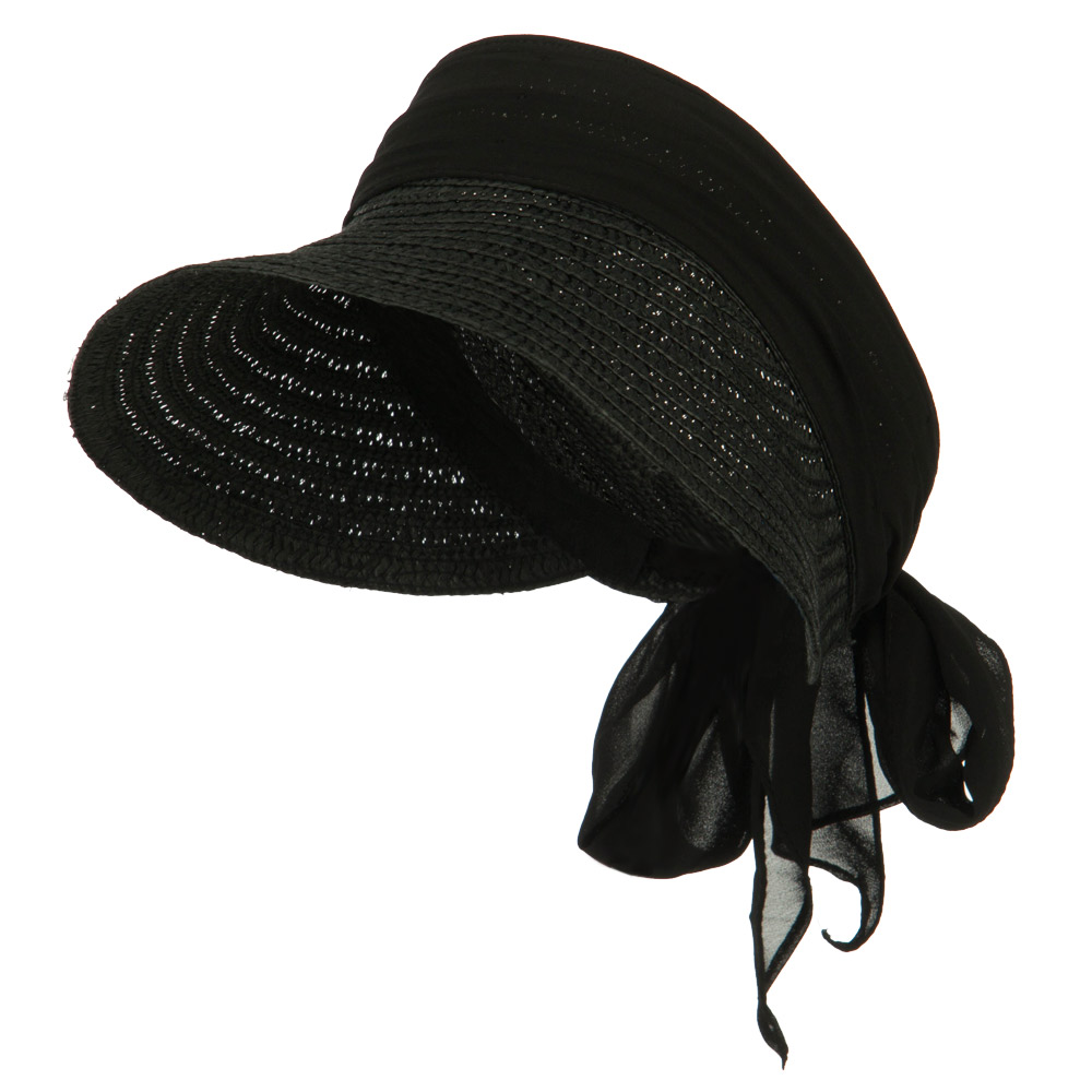 Chiffon Paper Straw Sun Visor - Black - Hats and Caps Online Shop - Hip Head Gear