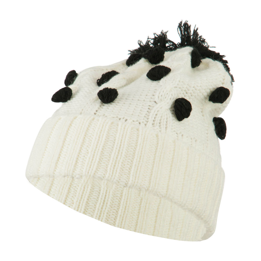 Cable Polka Dot Pom Cuff Beanie - White - Hats and Caps Online Shop - Hip Head Gear