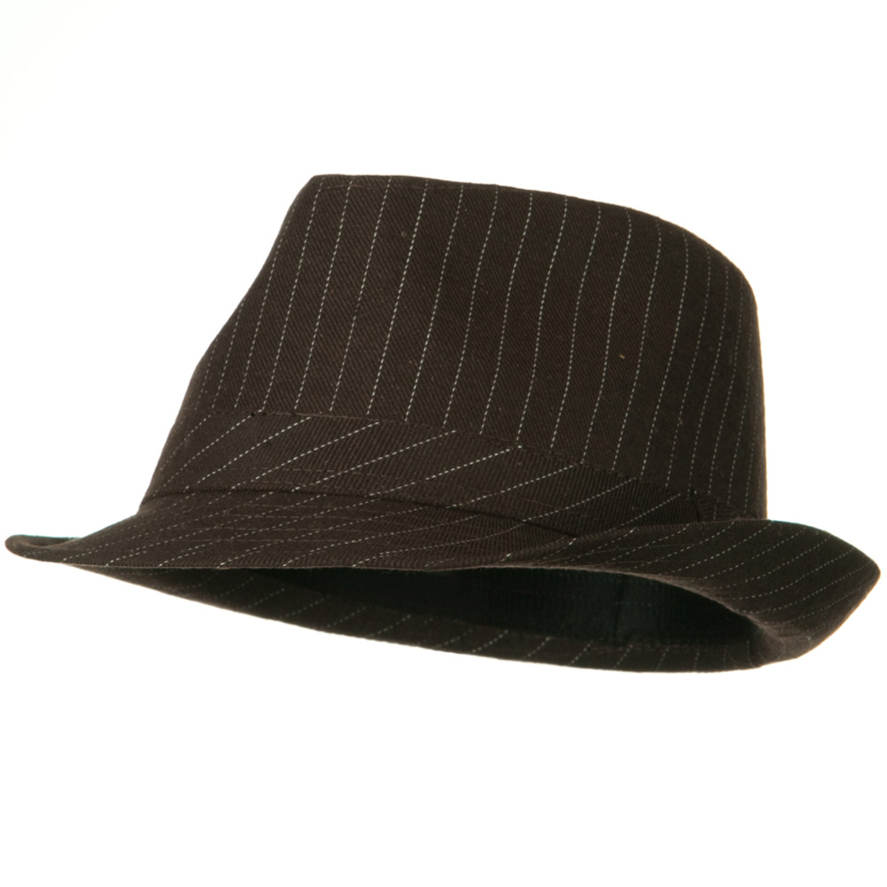 Cotton Pinstripe Fedora Hat - Brown White - Hats and Caps Online Shop - Hip Head Gear