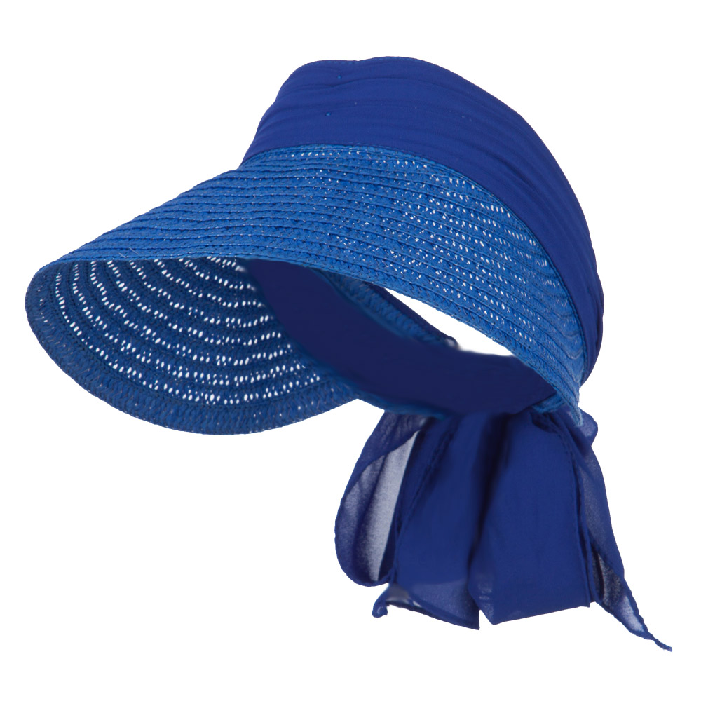Chiffon Paper Straw Sun Visor - Blue - Hats and Caps Online Shop - Hip Head Gear
