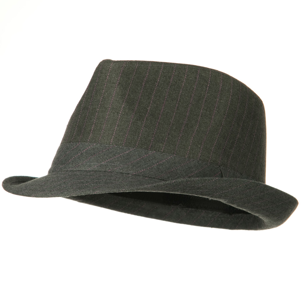 Cotton Pinstripe Fedora Hat - Grey Pink - Hats and Caps Online Shop - Hip Head Gear
