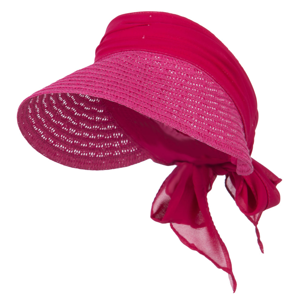 Chiffon Paper Straw Sun Visor - Fuchsia - Hats and Caps Online Shop - Hip Head Gear