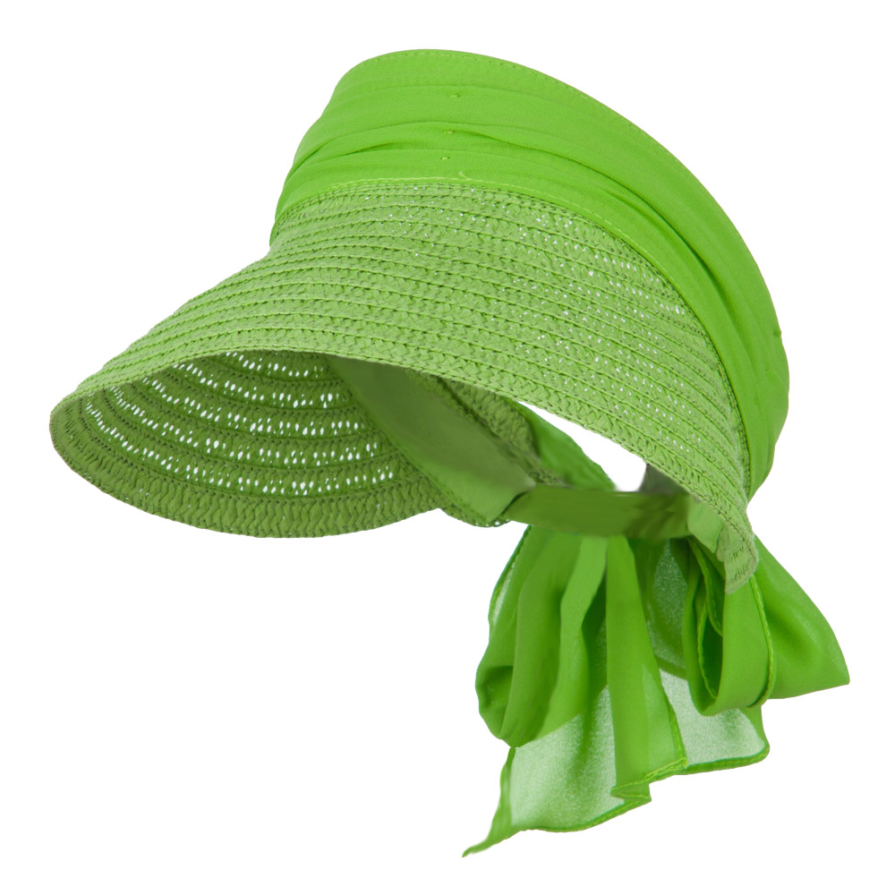 Chiffon Paper Straw Sun Visor - Lime - Hats and Caps Online Shop - Hip Head Gear