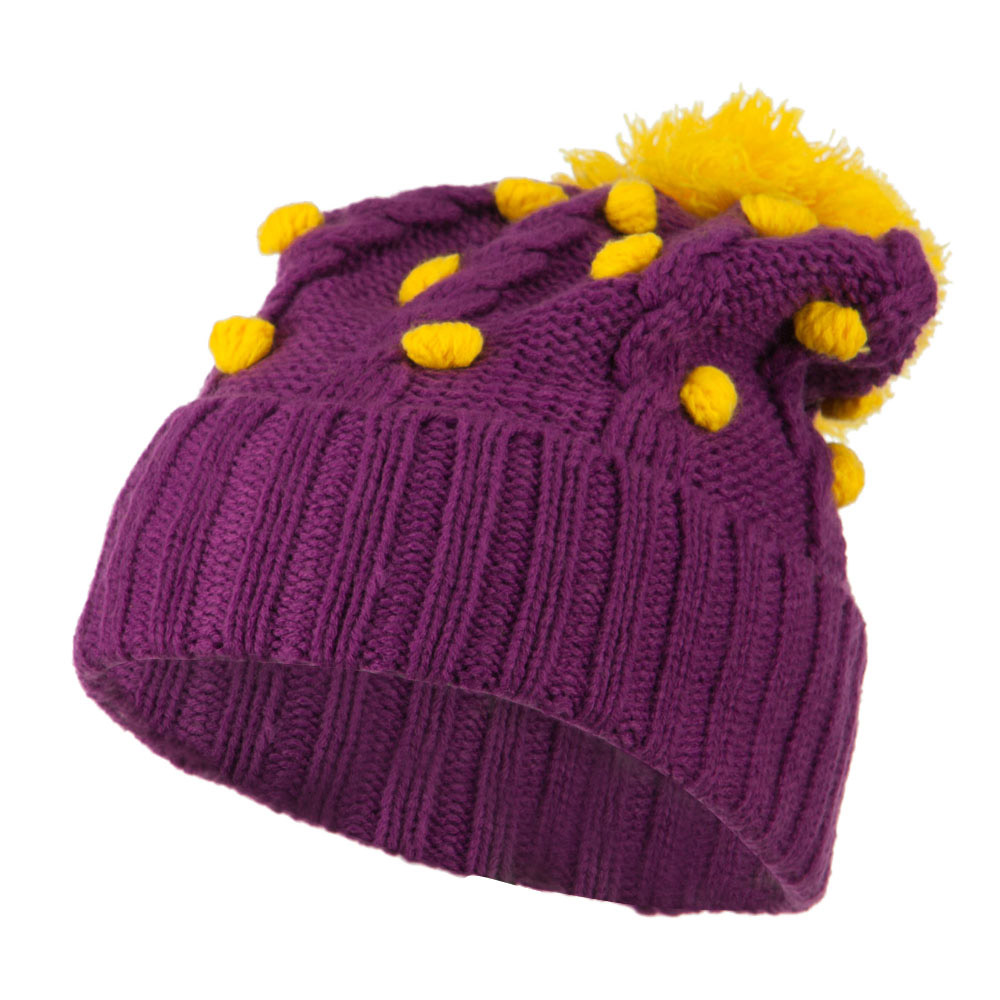 Cable Polka Dot Pom Cuff Beanie - Purple - Hats and Caps Online Shop - Hip Head Gear