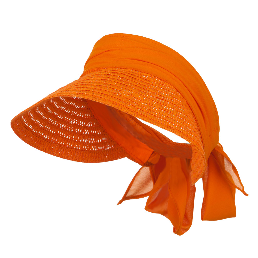 Chiffon Paper Straw Sun Visor - Orange - Hats and Caps Online Shop - Hip Head Gear