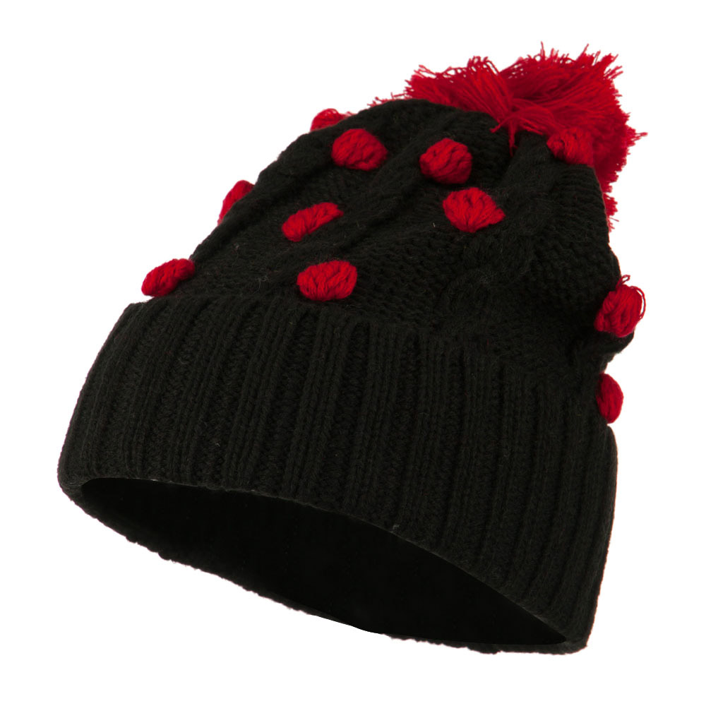 Cable Polka Dot Pom Cuff Beanie - Red - Hats and Caps Online Shop - Hip Head Gear