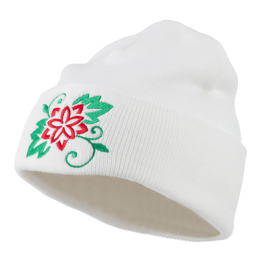 Christmas Poinsettia Flower Embroidered Long Beanie - White - Hats and Caps Online Shop - Hip Head Gear