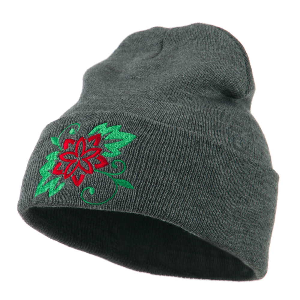 Christmas Poinsettia Flower Embroidered Long Beanie - Grey - Hats and Caps Online Shop - Hip Head Gear