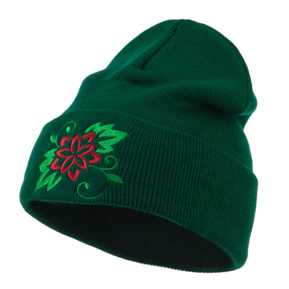 Christmas Poinsettia Flower Embroidered Long Beanie - Green - Hats and Caps Online Shop - Hip Head Gear