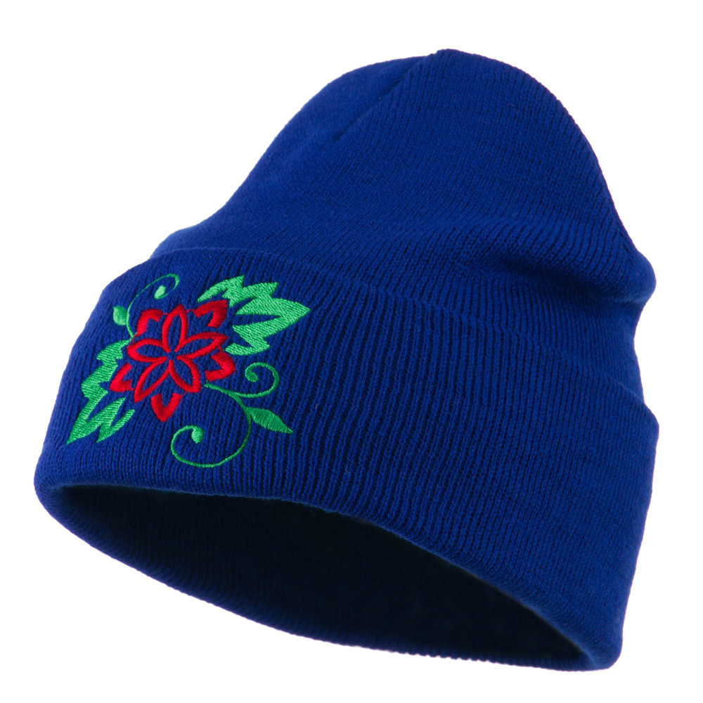 Christmas Poinsettia Flower Embroidered Long Beanie - Royal - Hats and Caps Online Shop - Hip Head Gear