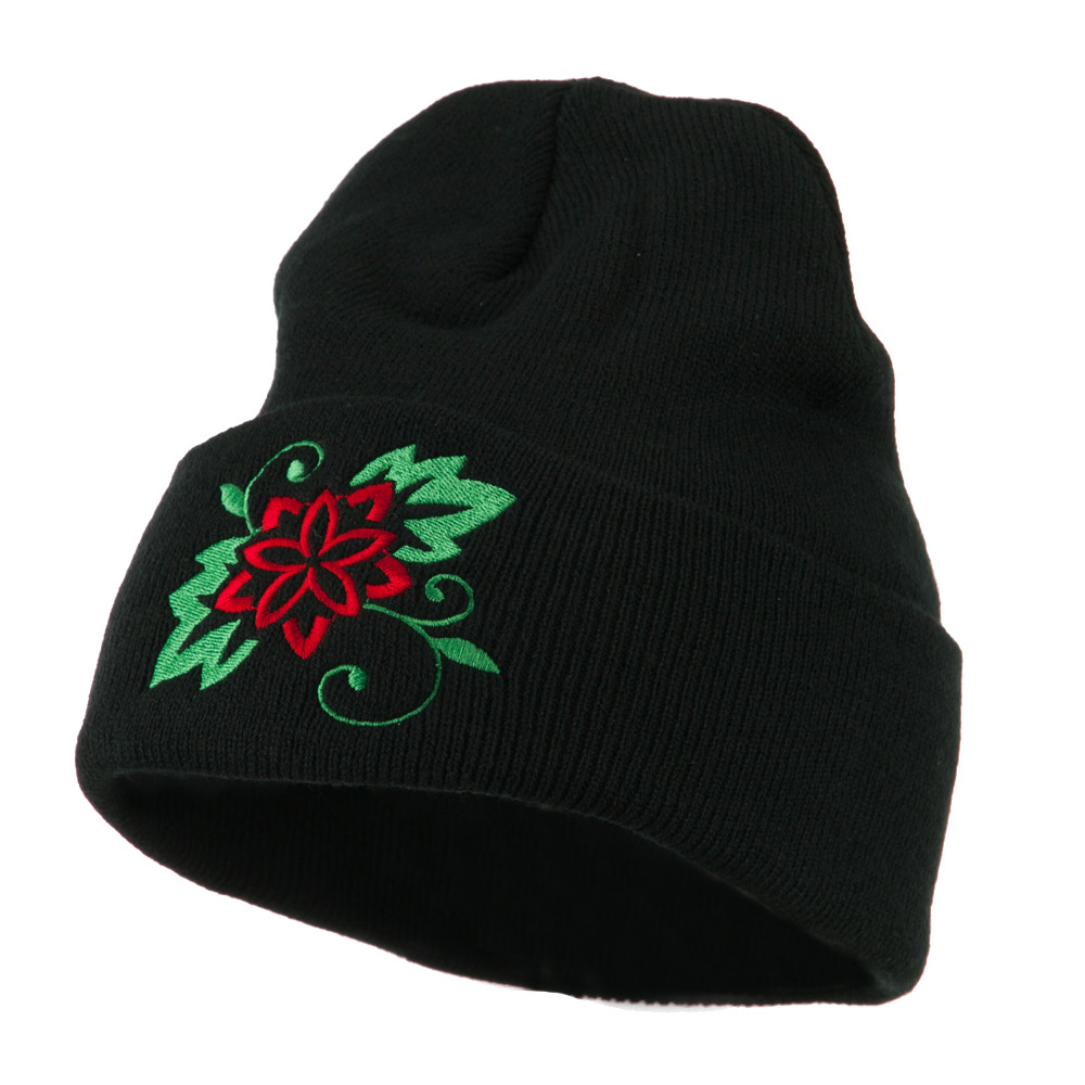 Christmas Poinsettia Flower Embroidered Long Beanie - Black - Hats and Caps Online Shop - Hip Head Gear