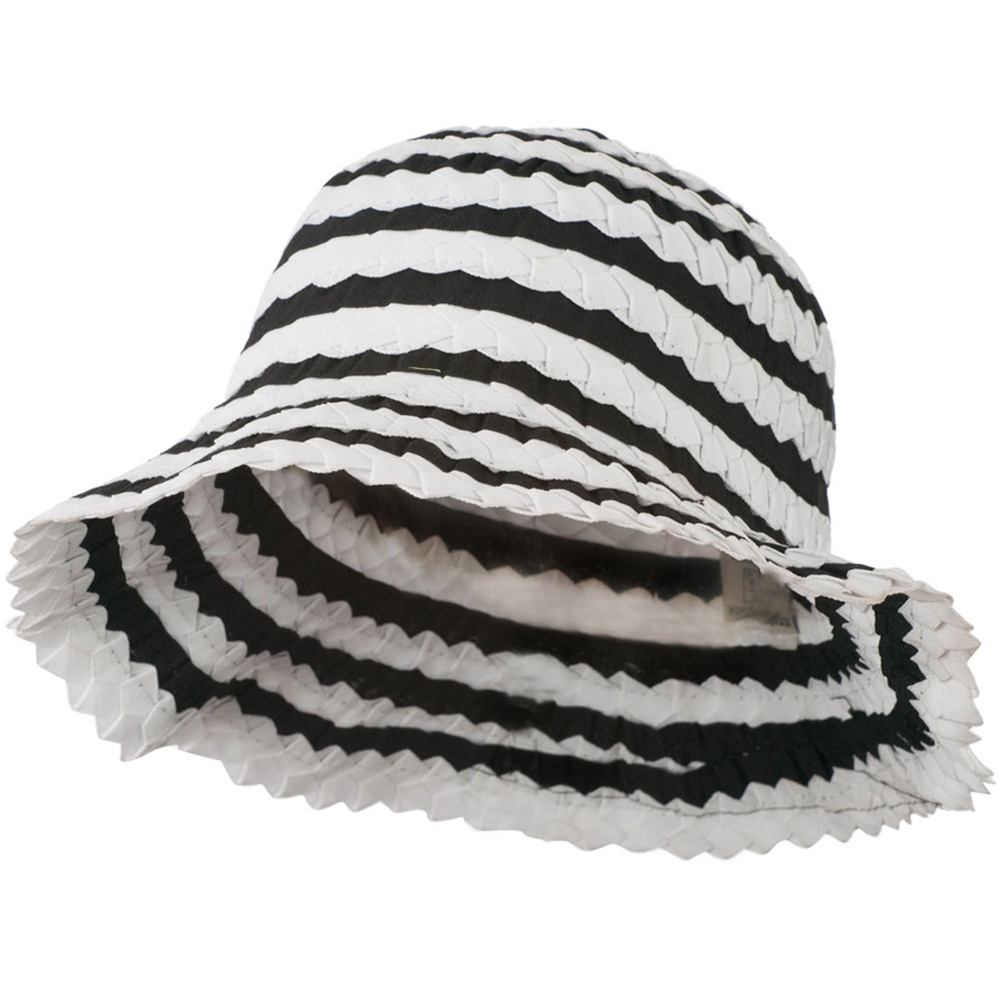 Crushable Ribbon Braid Hat - White Black - Hats and Caps Online Shop - Hip Head Gear