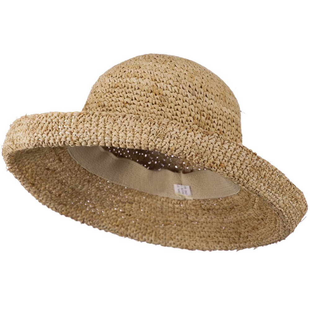 Crochet Raffia Straw Hat With Self-Tie - Tan - Hats and Caps Online Shop - Hip Head Gear
