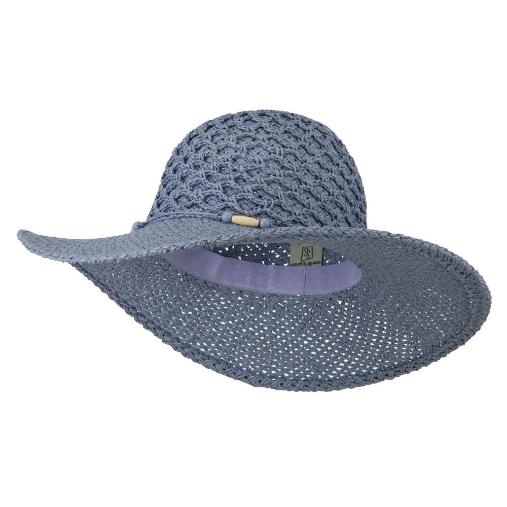 Crochet Crown Paper Straw Hat - Lavender - Hats and Caps Online Shop - Hip Head Gear