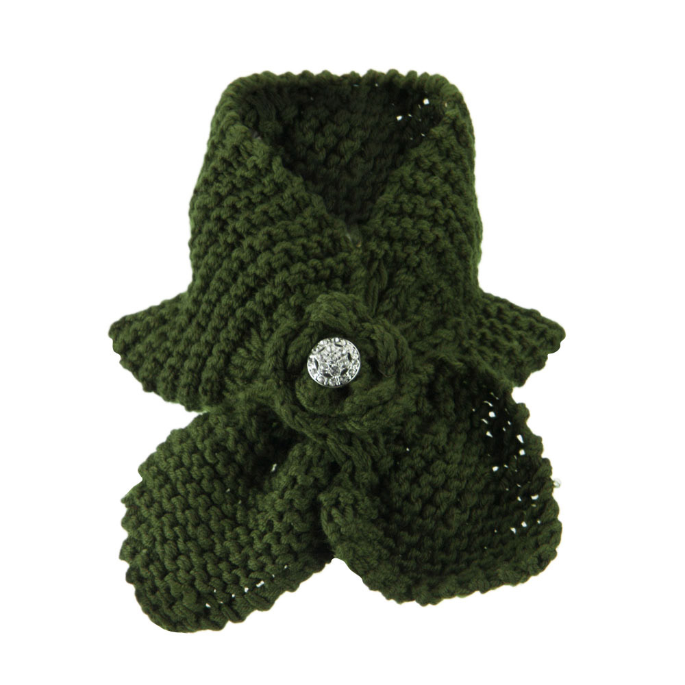 Women's Collar Scarf with Rhinestone Button - Olive