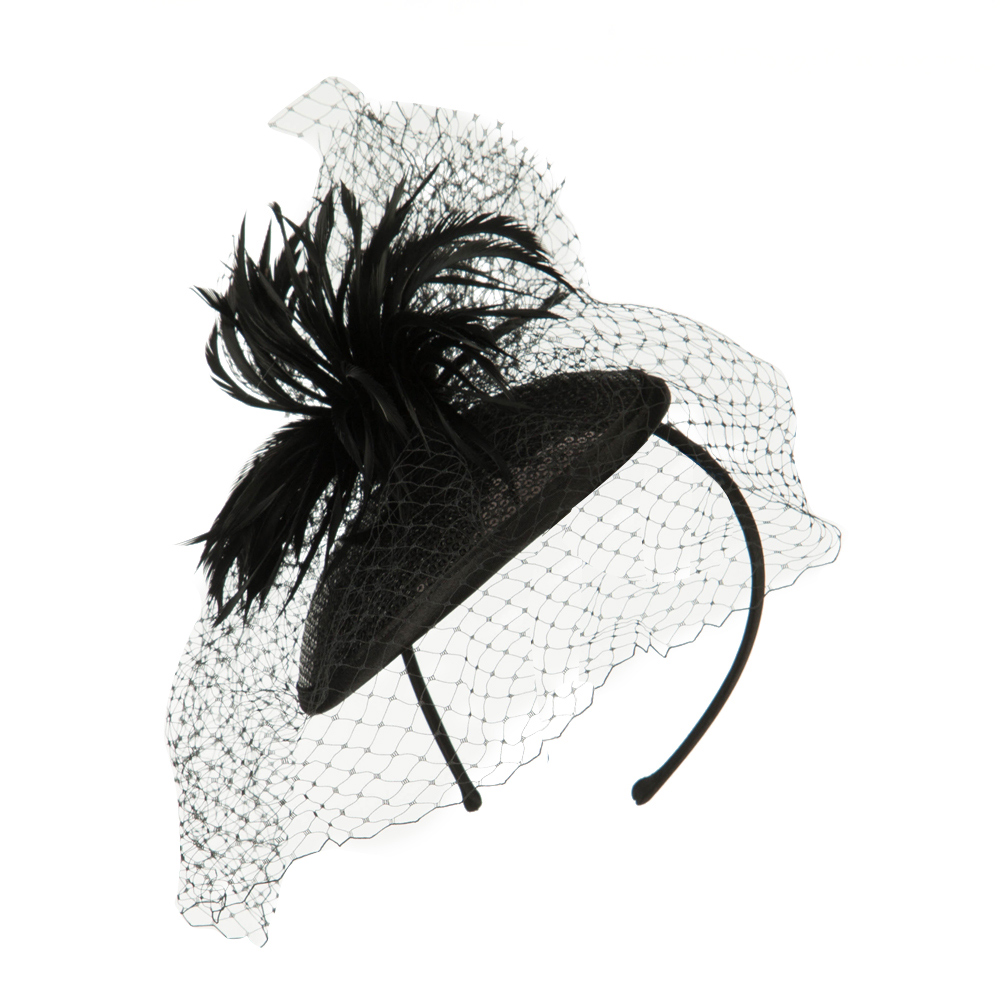 Round Crown Sequin Fascinator - Black - Hats and Caps Online Shop - Hip Head Gear
