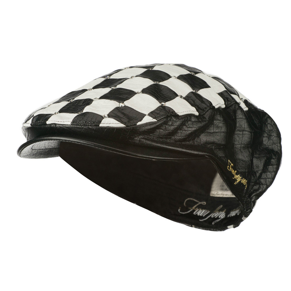 Checkered Stone Accent Ivy Hat - Black - Hats and Caps Online Shop - Hip Head Gear