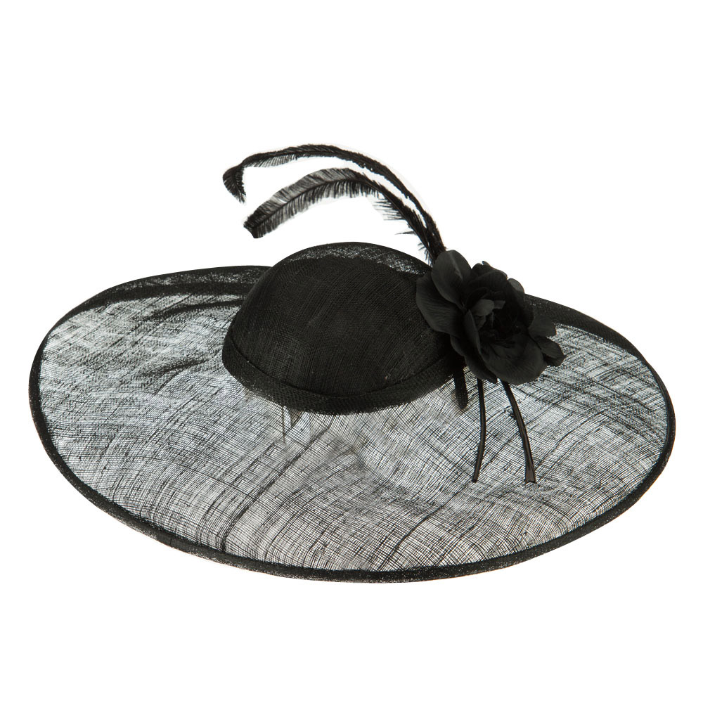 Wide Brim Clip On Band Sinamay Hat - Black - Hats and Caps Online Shop - Hip Head Gear