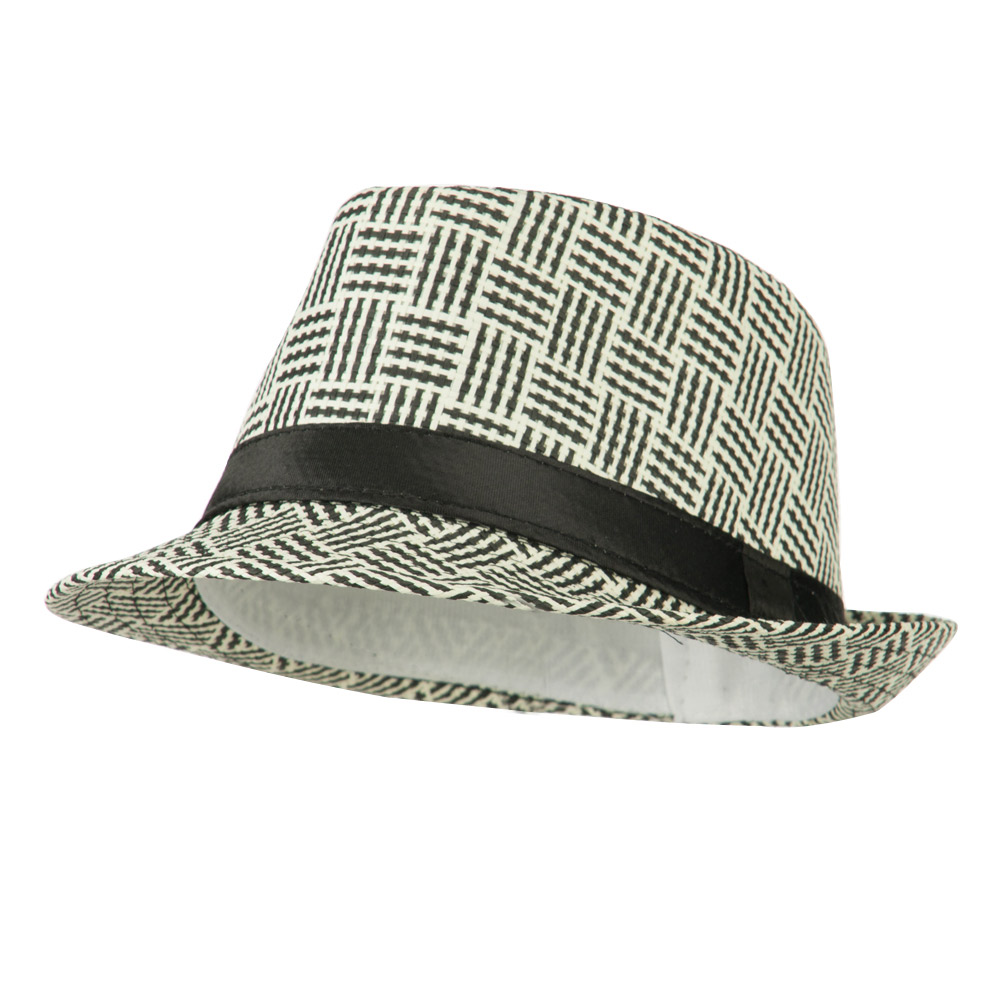 Multi Colored Straw Fedora - Black White - Hats and Caps Online Shop - Hip Head Gear