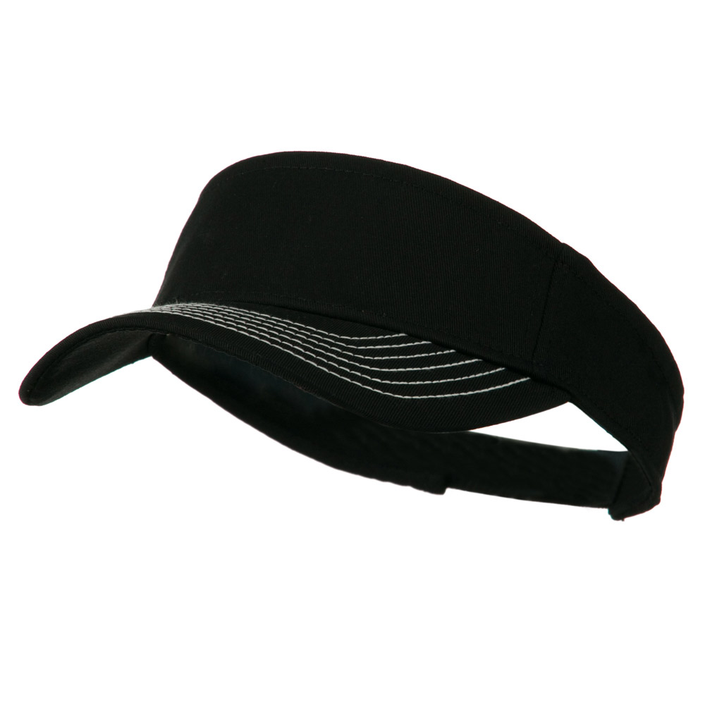 Contrast-Stitched Billed Visor - Black - Hats and Caps Online Shop - Hip Head Gear