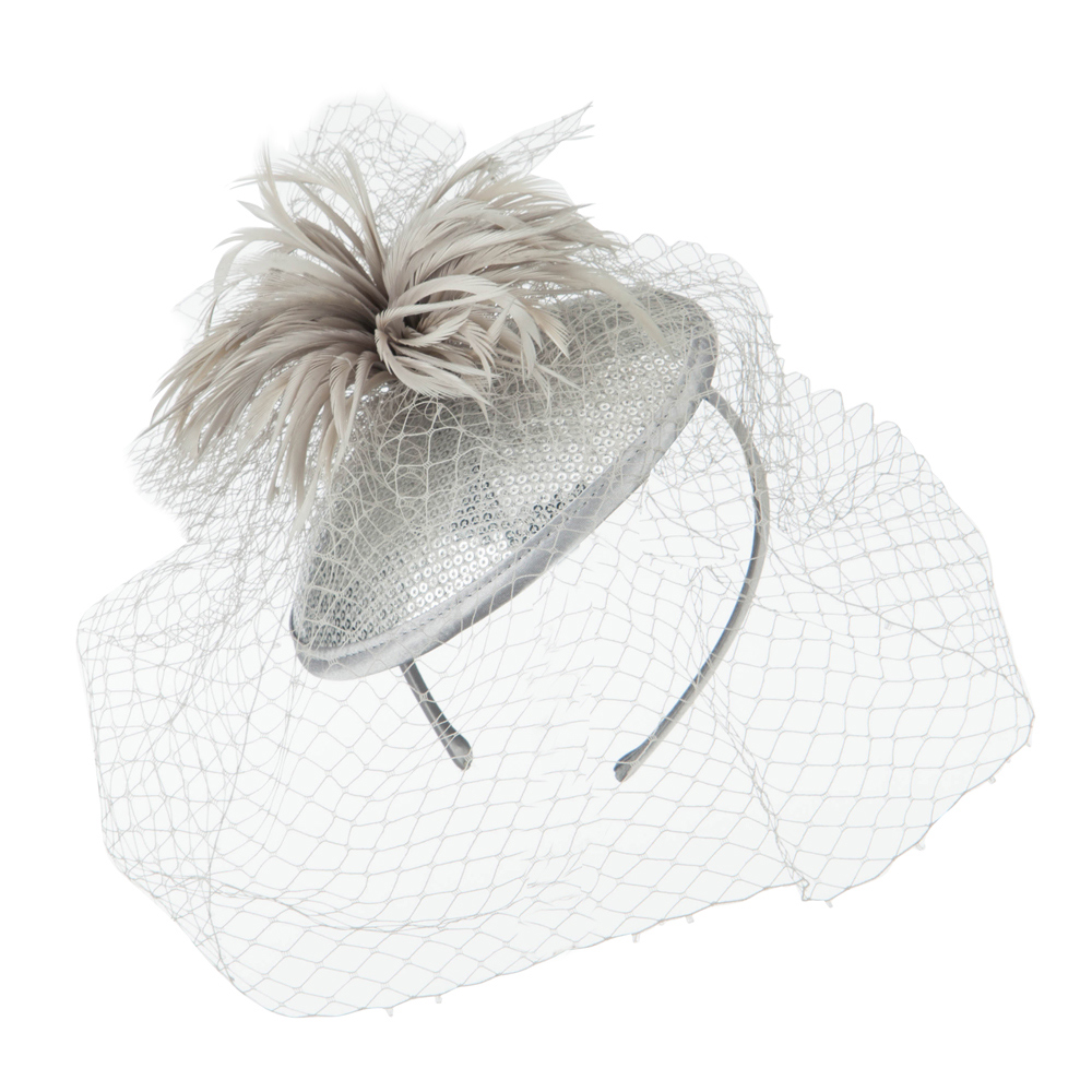 Round Crown Sequin Fascinator - Light Grey - Hats and Caps Online Shop - Hip Head Gear