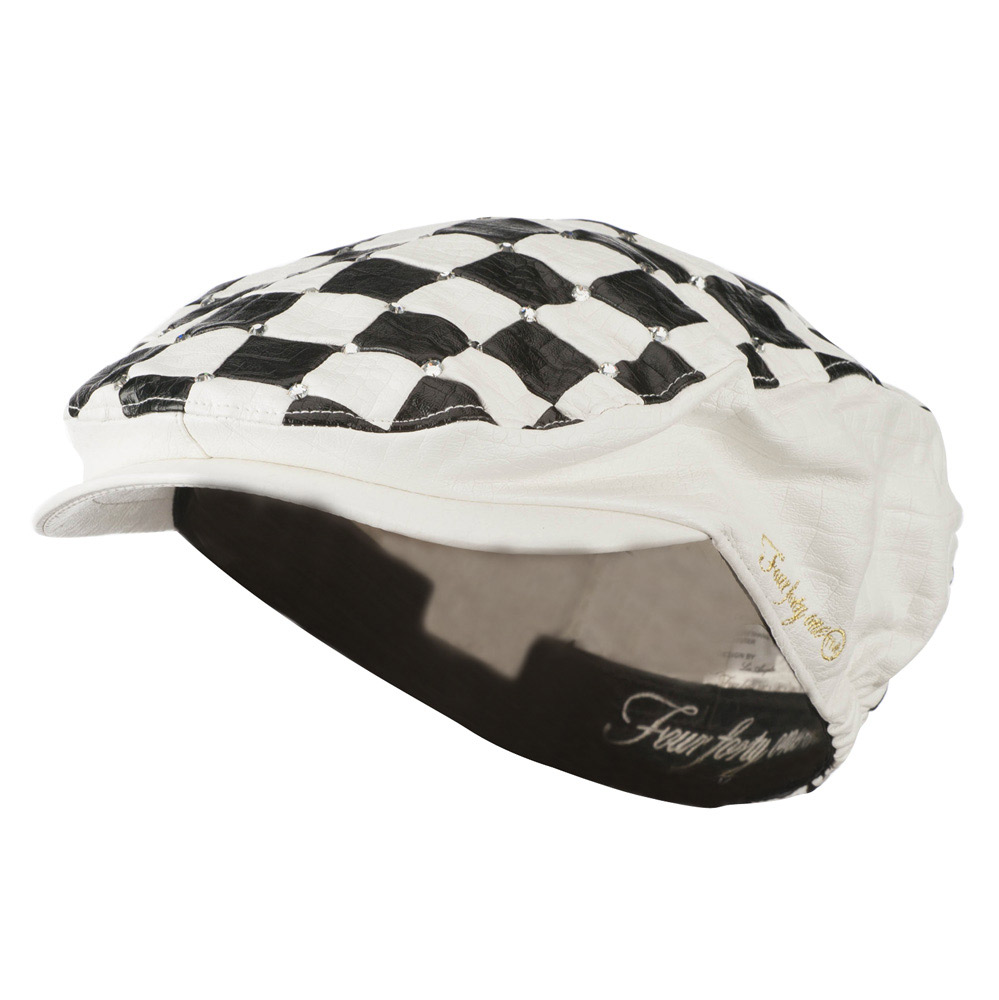 Checkered Stone Accent Ivy Hat - White - Hats and Caps Online Shop - Hip Head Gear
